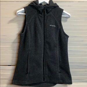 Columbia Dark Gray Sz Small Hooded Vest